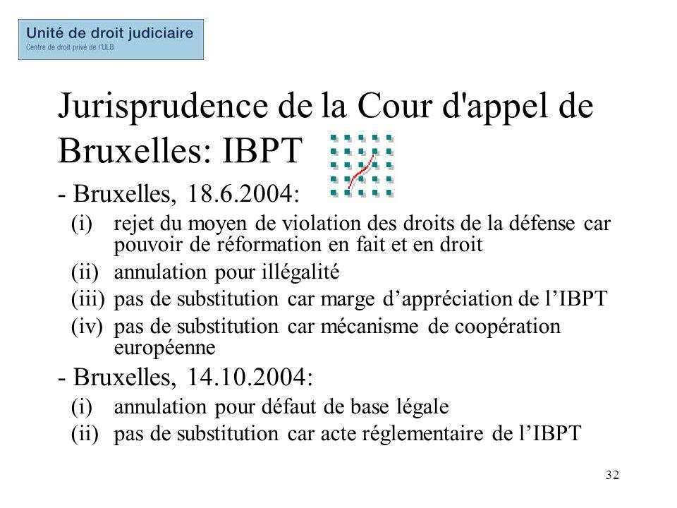32 Jurisprudence de la Cour d'appel de Bruxelles: IBPT - Bruxelles, 18.6.2004: (i)rejet du moyen de violation des droits de la défense car pouvoir de