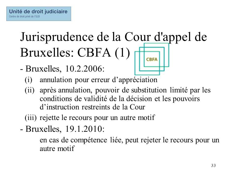 33 Jurisprudence de la Cour d'appel de Bruxelles: CBFA (1) - Bruxelles, 10.2.2006: (i)annulation pour erreur dappréciation (ii)après annulation, pouvo