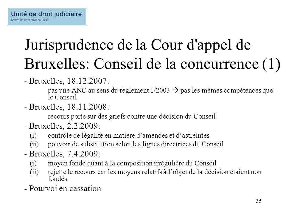 35 Jurisprudence de la Cour d'appel de Bruxelles: Conseil de la concurrence (1) - Bruxelles, 18.12.2007: pas une ANC au sens du règlement 1/2003 pas l