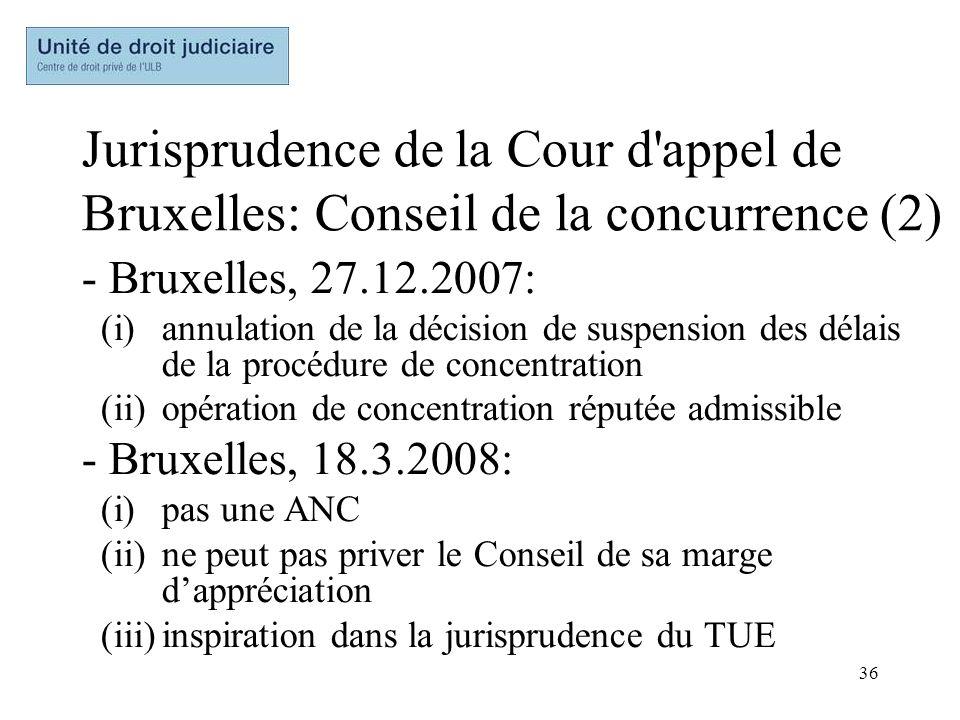 36 Jurisprudence de la Cour d'appel de Bruxelles: Conseil de la concurrence (2) - Bruxelles, 27.12.2007: (i)annulation de la décision de suspension de