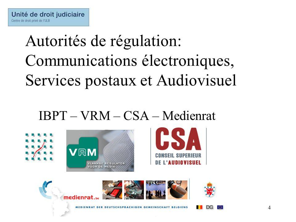 4 Autorités de régulation: Communications électroniques, Services postaux et Audiovisuel IBPT – VRM – CSA – Medienrat