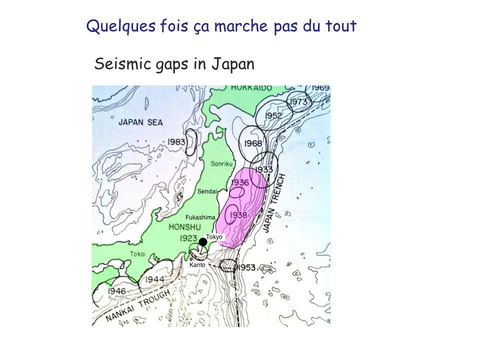 Seismic gaps in Japan Quelques fois ça marche pas du tout