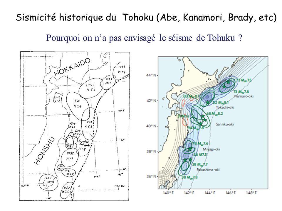 Sismicité historique du Tohoku (Abe, Kanamori, Brady, etc) Pourquoi on na pas envisagé le séisme de Tohuku ?