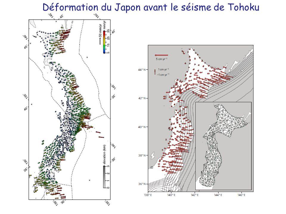 Déformation du Japon avant le séisme de Tohoku