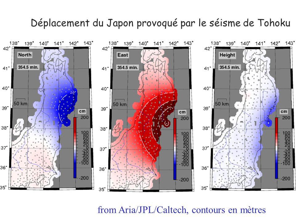 Déplacement du Japon provoqué par le séisme de Tohoku from Aria/JPL/Caltech, contours en mètres