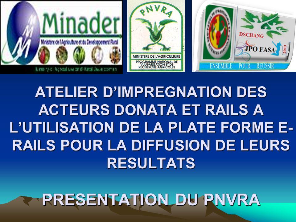 ATELIER DIMPREGNATION DES ACTEURS DONATA ET RAILS A LUTILISATION DE LA PLATE FORME E- RAILS POUR LA DIFFUSION DE LEURS RESULTATS PRESENTATION DU PNVRA