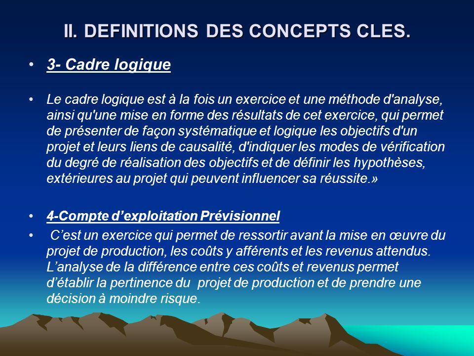 II. DEFINITIONS DES CONCEPTS CLES. 3- Cadre logique Le cadre logique est à la fois un exercice et une méthode d'analyse, ainsi qu'une mise en forme de