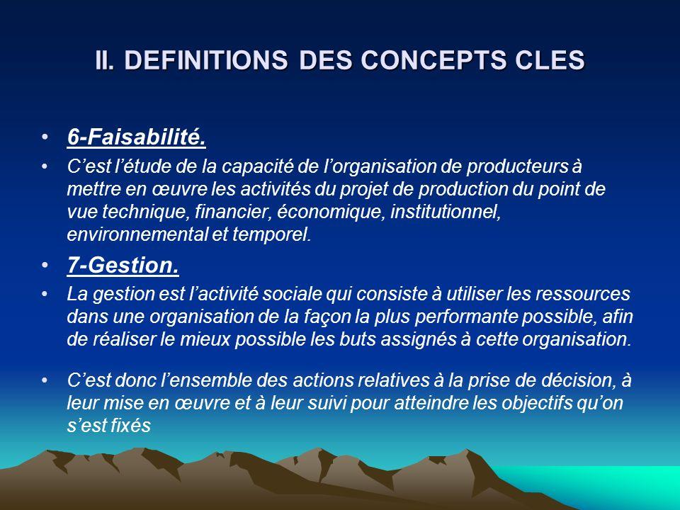 II. DEFINITIONS DES CONCEPTS CLES 6-Faisabilité. Cest létude de la capacité de lorganisation de producteurs à mettre en œuvre les activités du projet