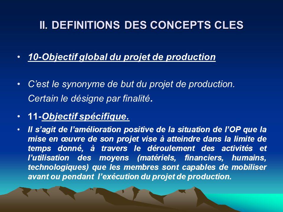 II. DEFINITIONS DES CONCEPTS CLES 10-Objectif global du projet de production Cest le synonyme de but du projet de production. Certain le désigne par f