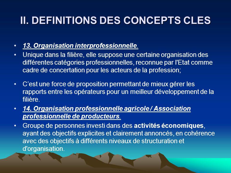 II. DEFINITIONS DES CONCEPTS CLES 13. Organisation interprofessionnelle. Unique dans la filière, elle suppose une certaine organisation des différente