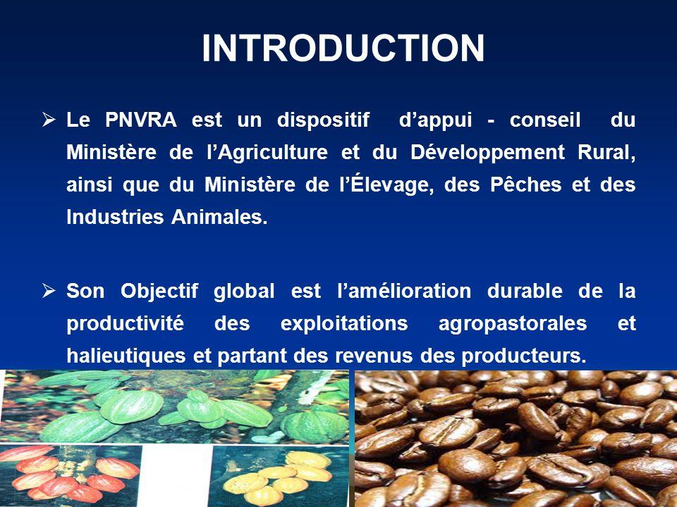 Le PNVRA est un dispositif dappui - conseil du Ministère de lAgriculture et du Développement Rural, ainsi que du Ministère de lÉlevage, des Pêches et