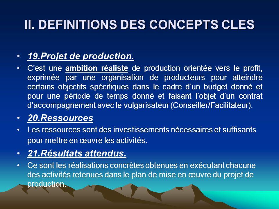 II. DEFINITIONS DES CONCEPTS CLES 19.Projet de production. Cest une ambition réaliste de production orientée vers le profit, exprimée par une organisa