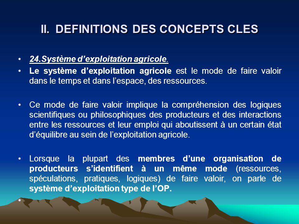 II. DEFINITIONS DES CONCEPTS CLES 24.Système dexploitation agricole. Le système dexploitation agricole est le mode de faire valoir dans le temps et da