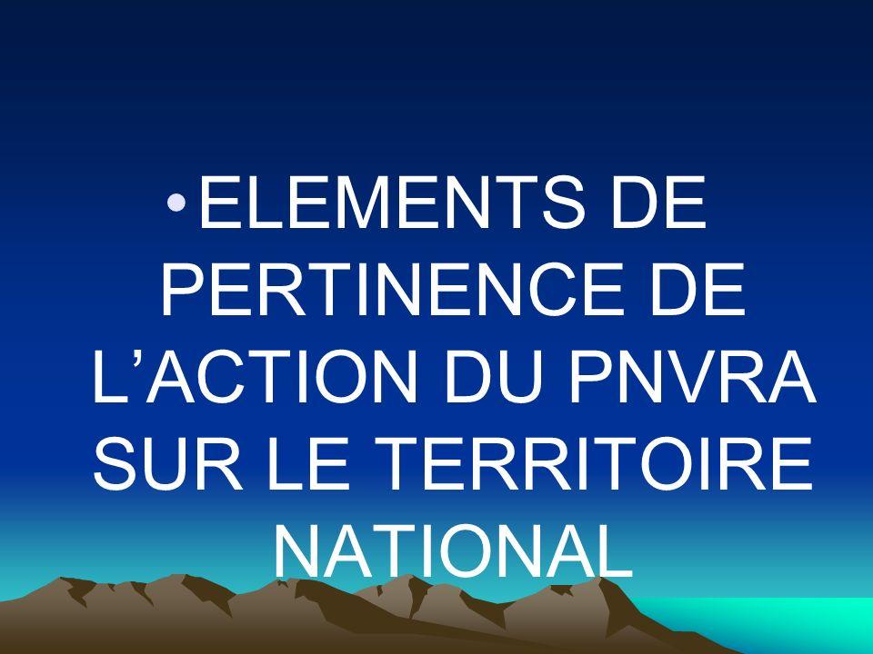 ELEMENTS DE PERTINENCE DE LACTION DU PNVRA SUR LE TERRITOIRE NATIONAL