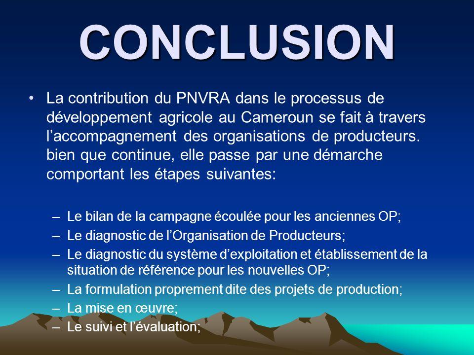 CONCLUSION La contribution du PNVRA dans le processus de développement agricole au Cameroun se fait à travers laccompagnement des organisations de pro
