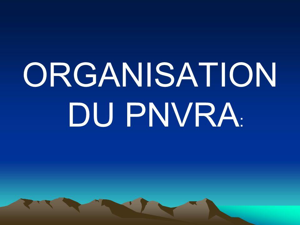 ORGANISATION DU PNVRA :