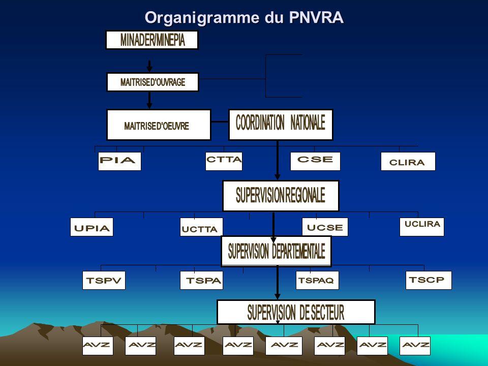 Organigramme du PNVRA MINAGRI MAITRISE DOUVRAGE MAITRISE DOEUVRE COORDINATION NATIONALE CGEACCLIRACSECSAIE SUPERVISION PROVINCIALE UFRCOM U GEAC USE U