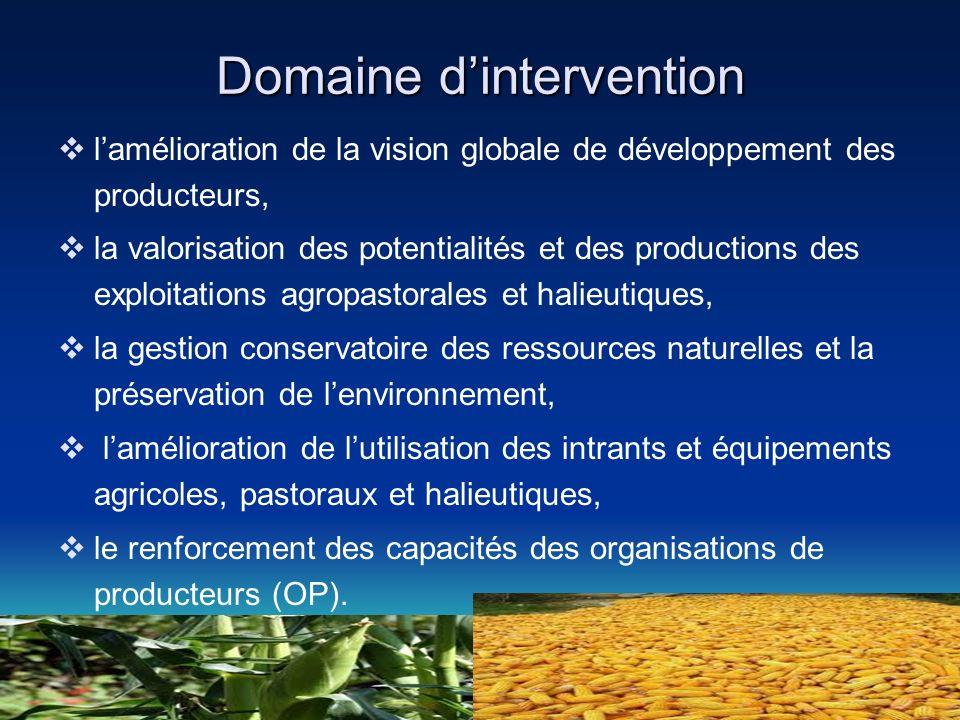 Domaine dintervention lamélioration de la vision globale de développement des producteurs, la valorisation des potentialités et des productions des ex