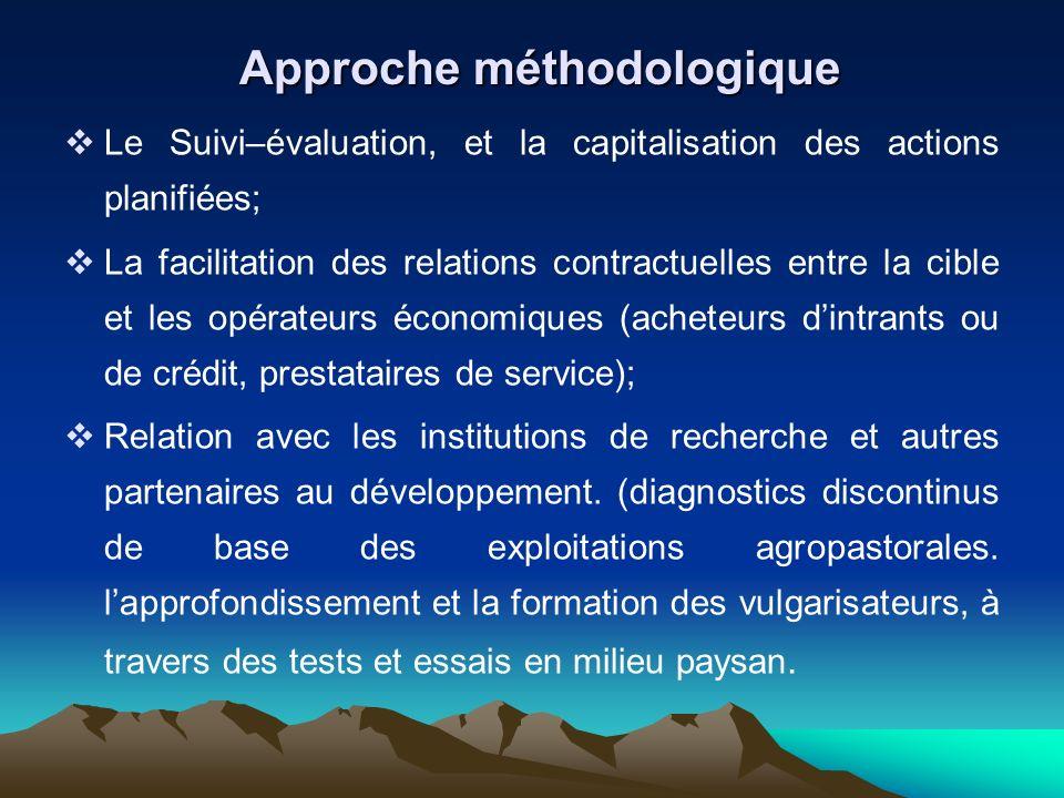 Le Suivi–évaluation, et la capitalisation des actions planifiées; La facilitation des relations contractuelles entre la cible et les opérateurs économ