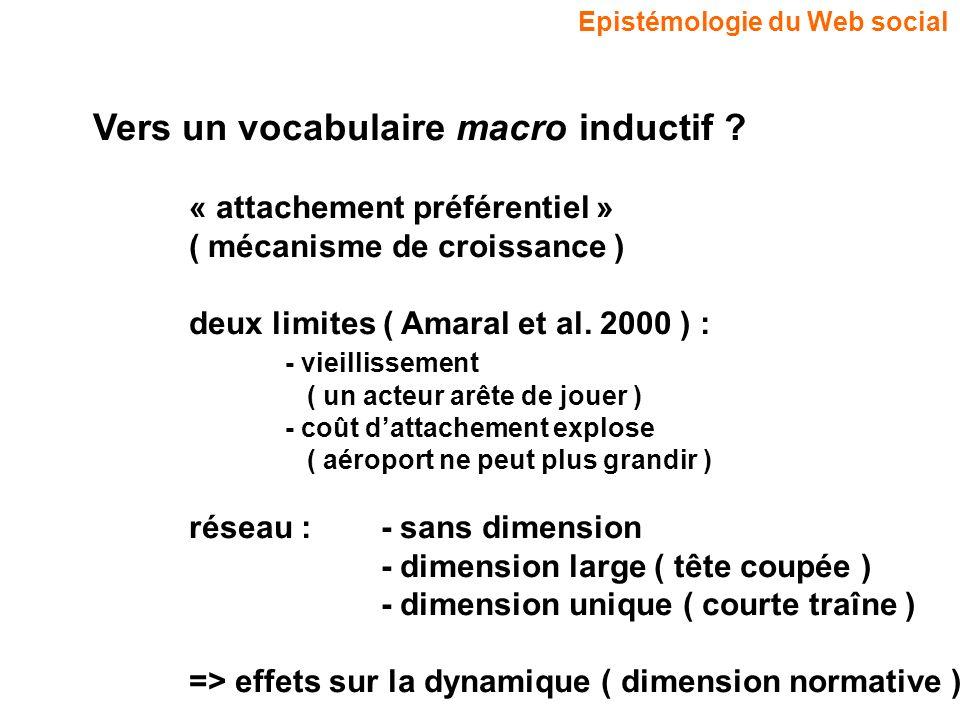 Epistémologie du Web social Vers un vocabulaire macro inductif ? « attachement préférentiel » ( mécanisme de croissance ) deux limites ( Amaral et al.