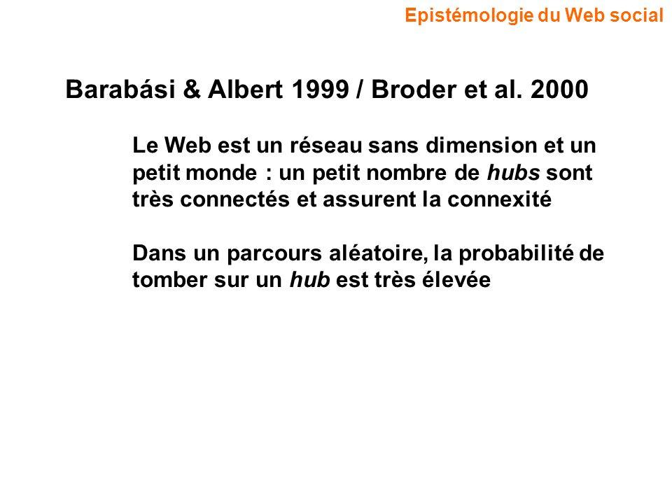 Epistémologie du Web social Barabási & Albert 1999 / Broder et al. 2000 Le Web est un réseau sans dimension et un petit monde : un petit nombre de hub