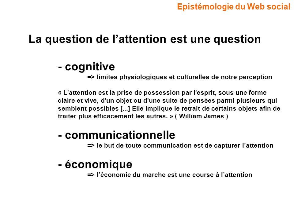Epistémologie du Web social La question de lattention est une question - cognitive => limites physiologiques et culturelles de notre perception « L'at