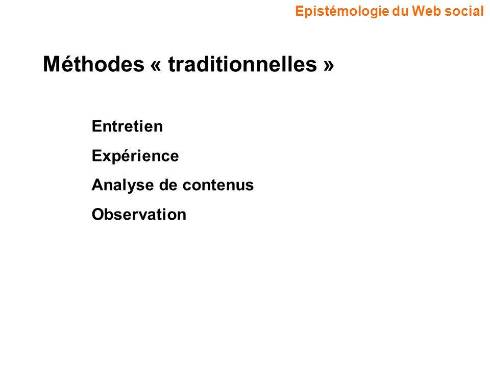Epistémologie du Web social Méthodes « traditionnelles » Entretien Expérience Analyse de contenus Observation