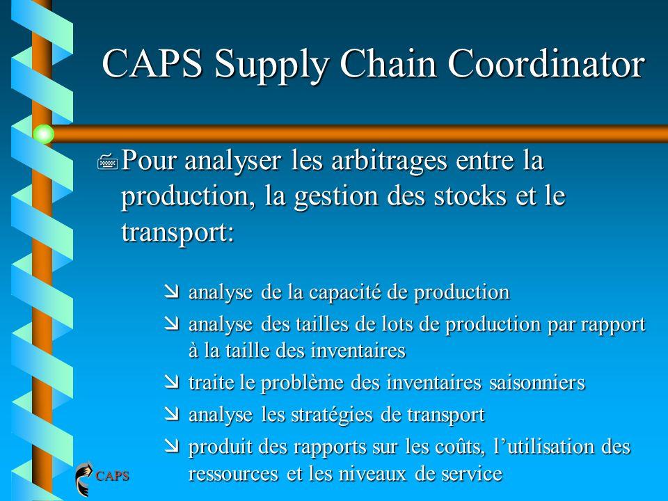 CAPS Supply Chain Coordinator 7 Pour analyser les arbitrages entre la production, la gestion des stocks et le transport: æanalyse de la capacité de pr