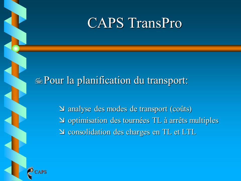 CAPS TransPro 7 Pour la planification du transport: æanalyse des modes de transport (coûts) æoptimisation des tournées TL à arrêts multiples æconsolid