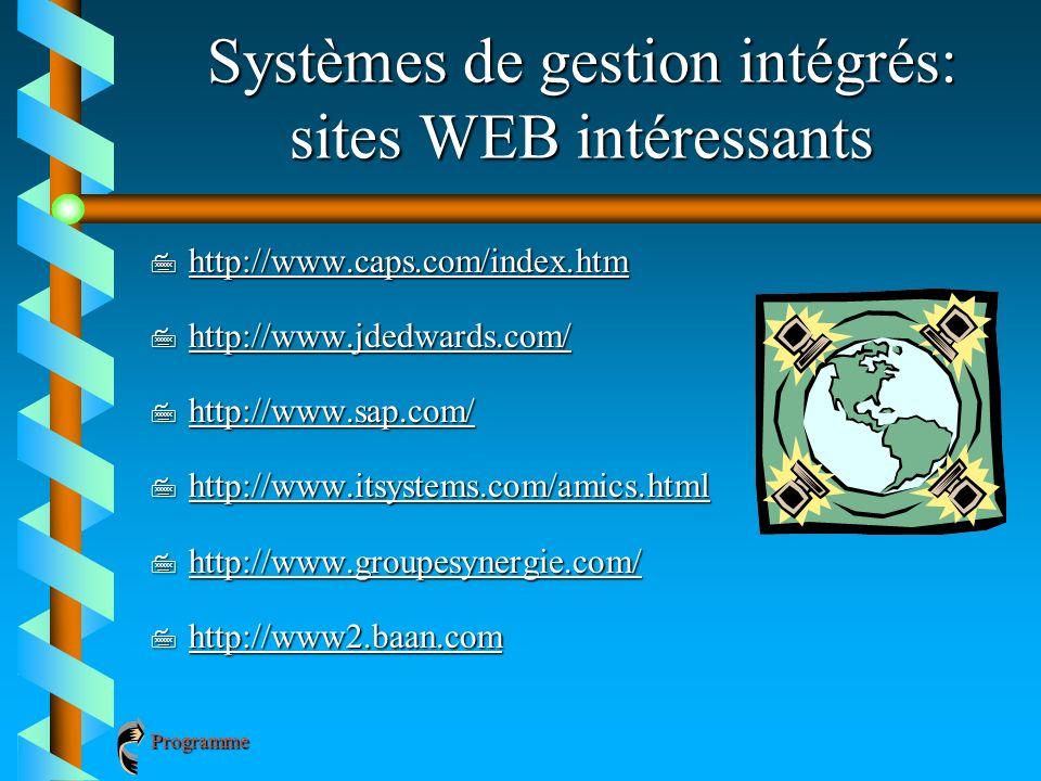 Systèmes de gestion intégrés: sites WEB intéressants 7 http://www.caps.com/index.htm http://www.caps.com/index.htm 7 http://www.jdedwards.com/ http://