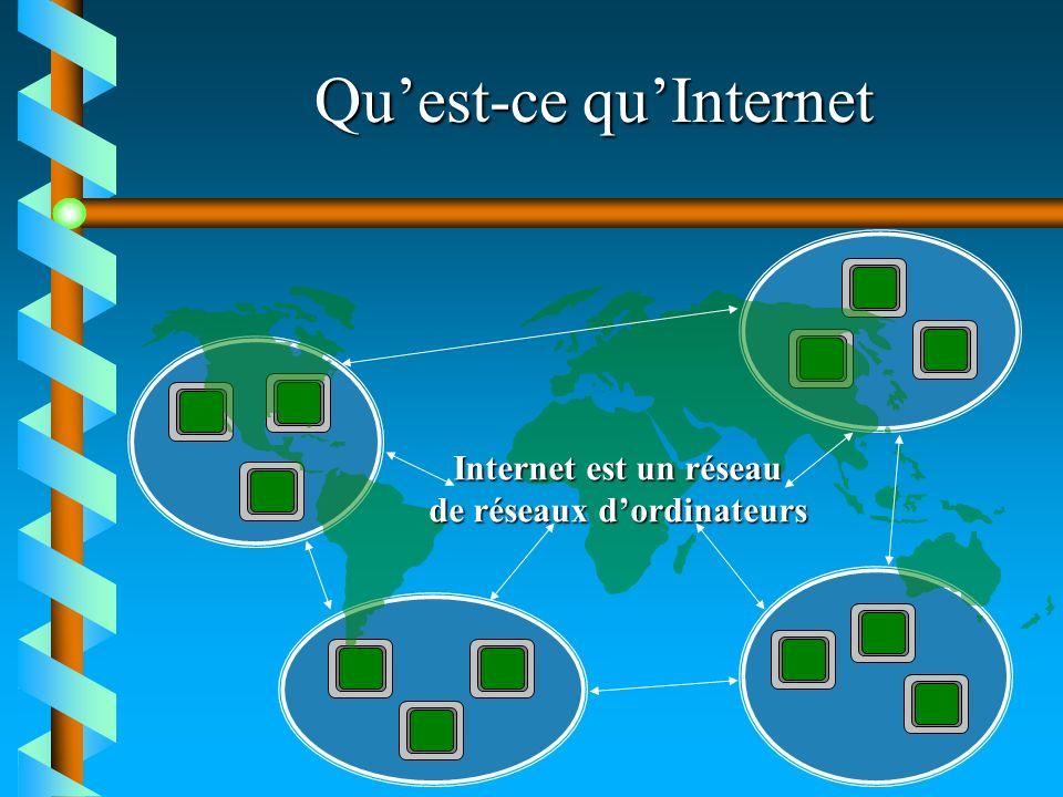 Quest-ce quInternet Internet est un réseau de réseaux dordinateurs