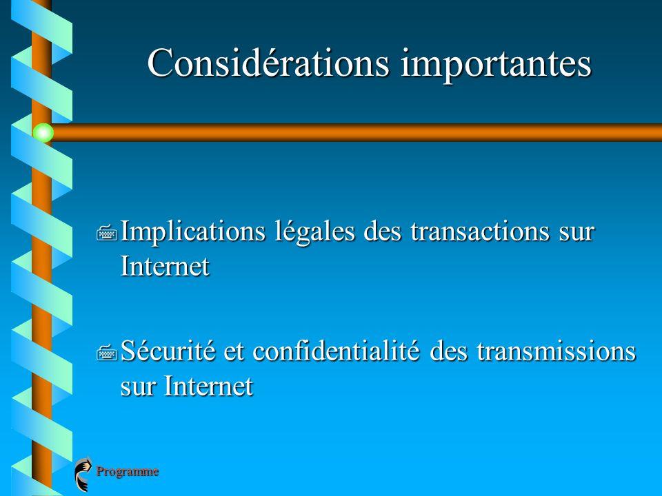 Considérations importantes 7 Implications légales des transactions sur Internet 7 Sécurité et confidentialité des transmissions sur Internet Programme