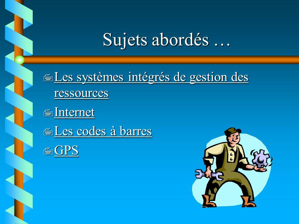 Sujets abordés … 7 Les systèmes intégrés de gestion des ressources Les systèmes intégrés de gestion des ressources Les systèmes intégrés de gestion de
