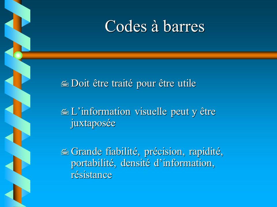 Codes à barres 7 Doit être traité pour être utile 7 Linformation visuelle peut y être juxtaposée 7 Grande fiabilité, précision, rapidité, portabilité,
