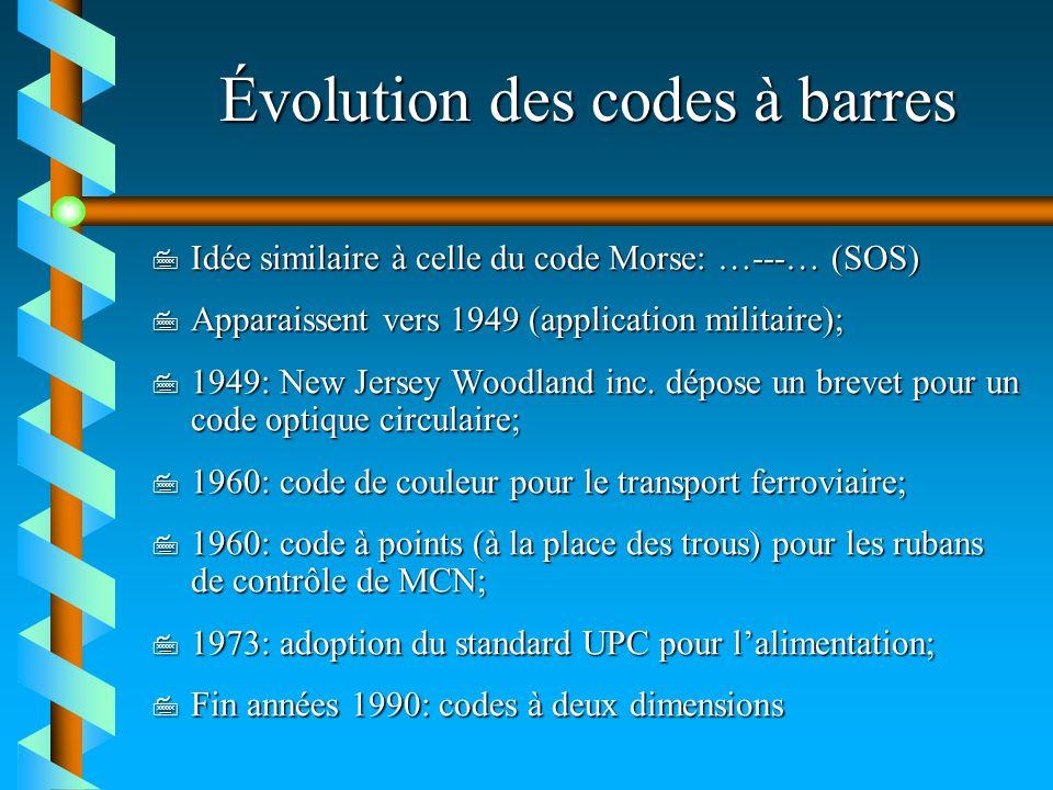 Évolution des codes à barres 7 Idée similaire à celle du code Morse: …---… (SOS) 7 Apparaissent vers 1949 (application militaire); 7 1949: New Jersey