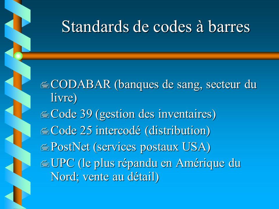 Standards de codes à barres 7 CODABAR (banques de sang, secteur du livre) 7 Code 39 (gestion des inventaires) 7 Code 25 intercodé (distribution) 7 Pos