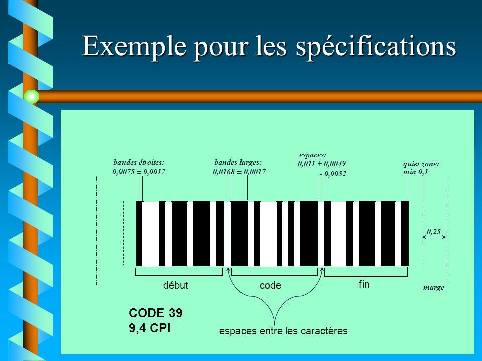 Exemple pour les spécifications début fin code espaces entre les caractères CODE 39 9,4 CPI 0,0075 ± 0,0017 0,0168 ± 0,0017 0,011 + 0,0049 - 0,0052 mi