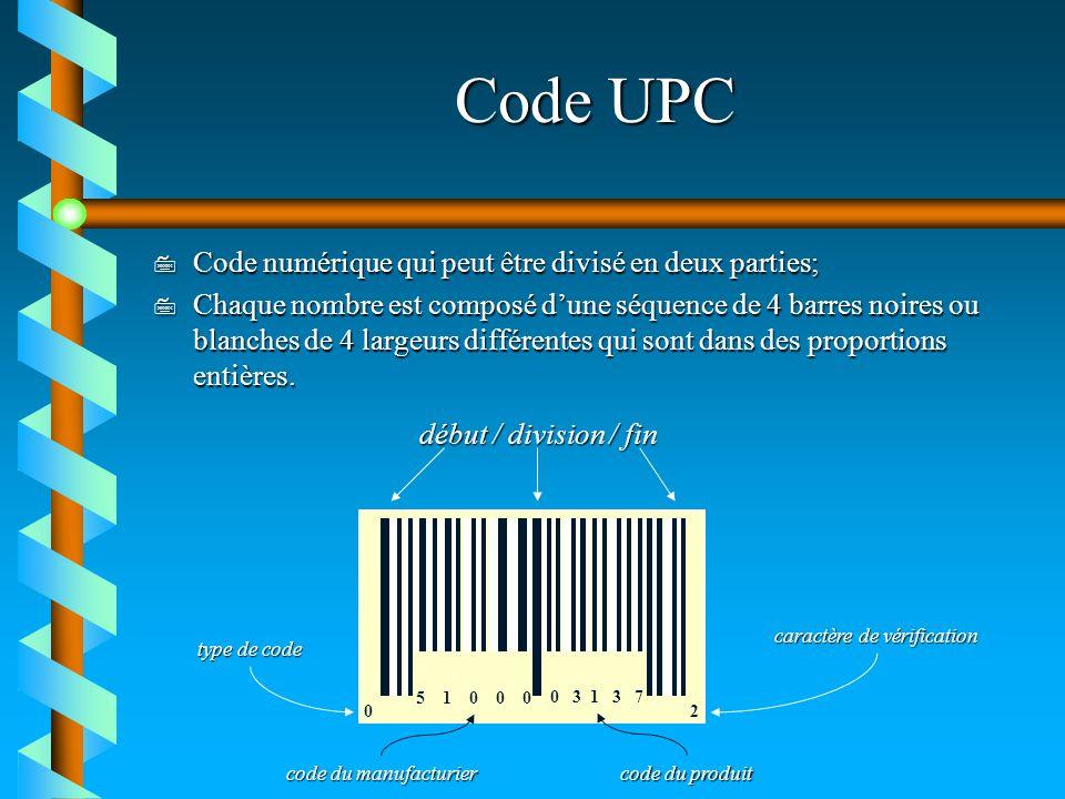 Code UPC 7 Code numérique qui peut être divisé en deux parties; 7 Chaque nombre est composé dune séquence de 4 barres noires ou blanches de 4 largeurs