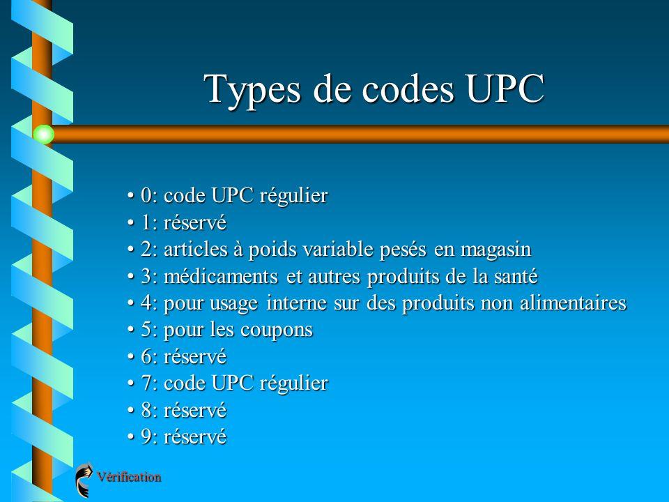 Types de codes UPC 0: code UPC régulier0: code UPC régulier 1: réservé1: réservé 2: articles à poids variable pesés en magasin2: articles à poids vari