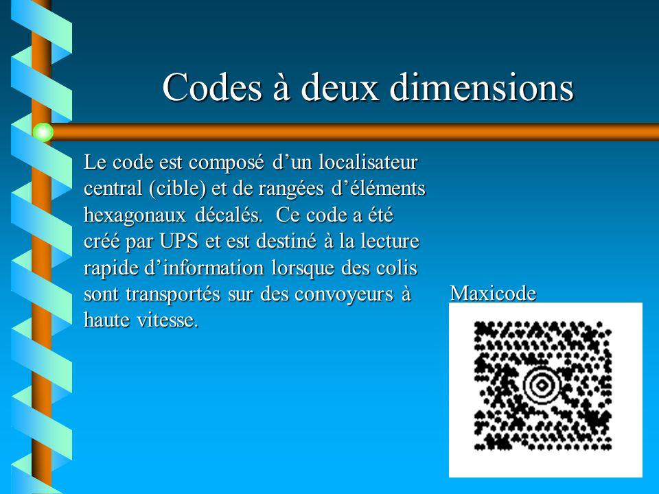 Codes à deux dimensions Maxicode Le code est composé dun localisateur central (cible) et de rangées déléments hexagonaux décalés. Ce code a été créé p