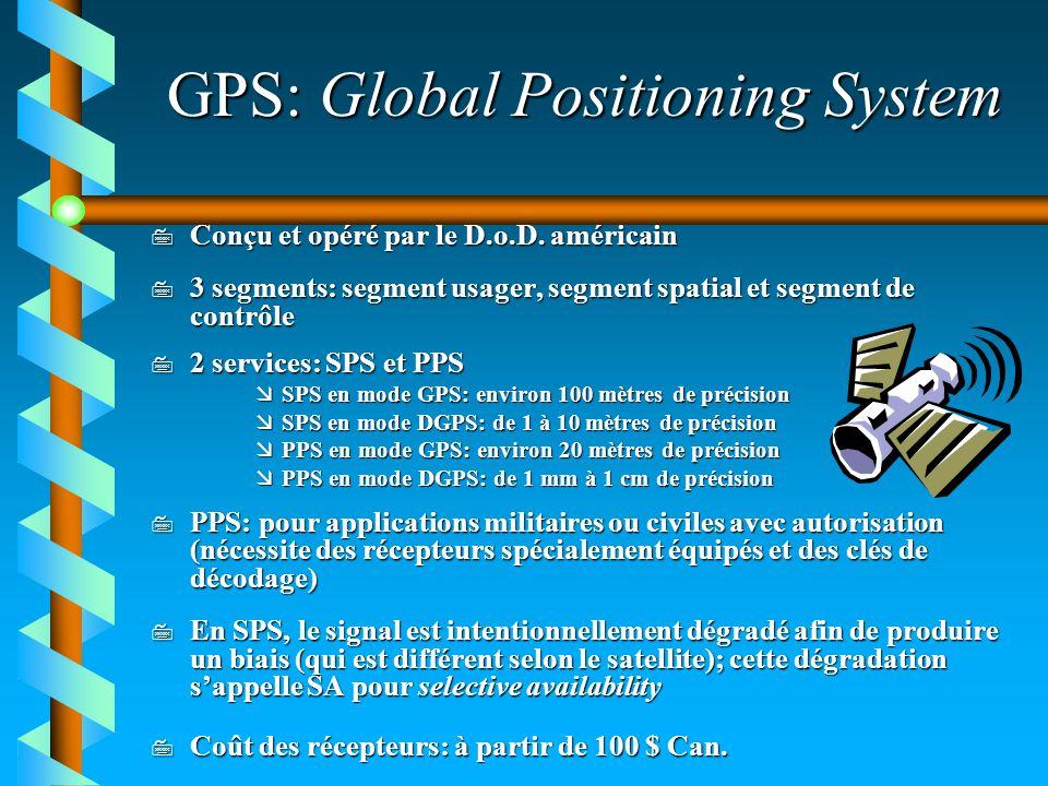 GPS: Global Positioning System 7 Conçu et opéré par le D.o.D. américain 7 3 segments: segment usager, segment spatial et segment de contrôle 7 2 servi