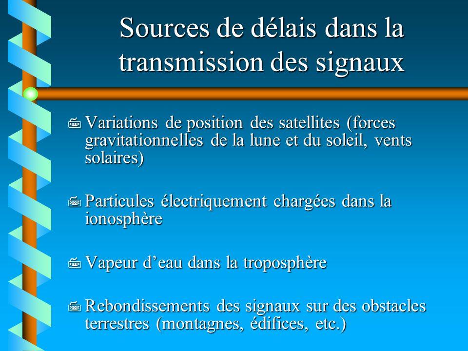 Sources de délais dans la transmission des signaux 7 Variations de position des satellites (forces gravitationnelles de la lune et du soleil, vents so