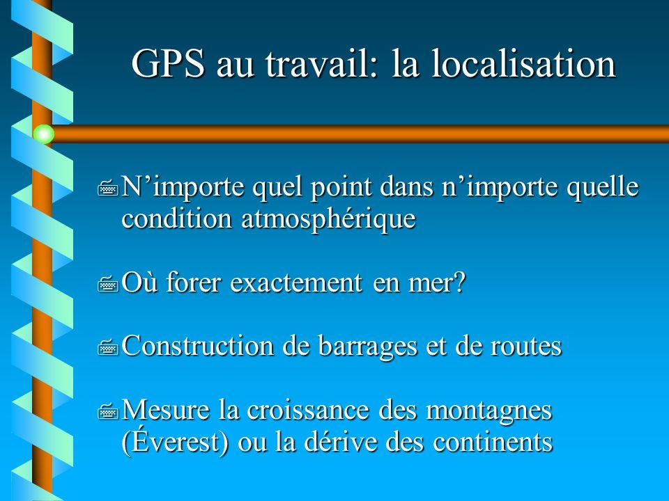 GPS au travail: la localisation 7 Nimporte quel point dans nimporte quelle condition atmosphérique 7 Où forer exactement en mer? 7 Construction de bar