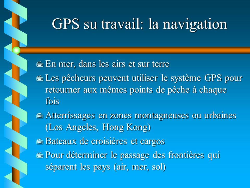 GPS su travail: la navigation 7 En mer, dans les airs et sur terre 7 Les pêcheurs peuvent utiliser le système GPS pour retourner aux mêmes points de p