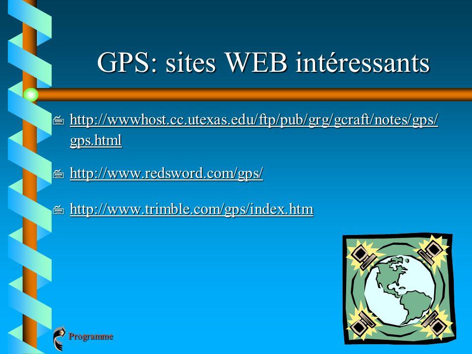 GPS: sites WEB intéressants 7 http://wwwhost.cc.utexas.edu/ftp/pub/grg/gcraft/notes/gps/ gps.html http://wwwhost.cc.utexas.edu/ftp/pub/grg/gcraft/note