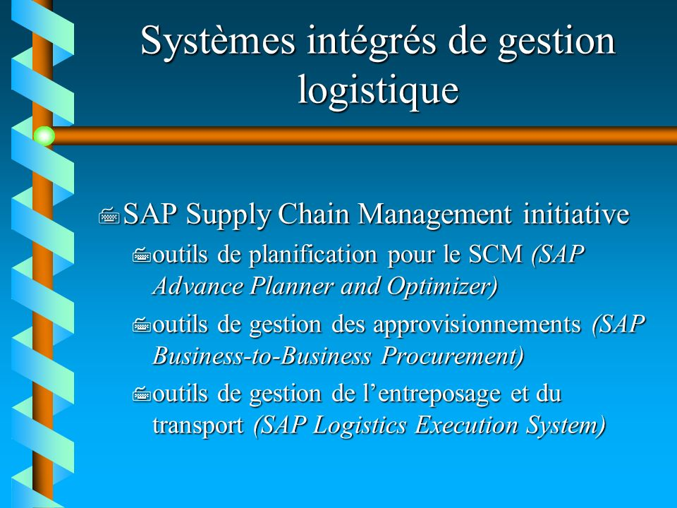 CAPS Logistics Planification Transport Cheminement et ordonnancement et ordonnancement StrategicSupply Chain BidPro Supply ChainBidProSupply ChainBidPro Designer TacticalSupply Chain TransPro RoutePro Supply ChainTransProRouteProSupply ChainTransProRoutePro CoordinatorCoordinator residential residential Coordinatorresidential Operationnal TransPro SAP interface SAP interface RoutePro Designer RoutePro Dispatcher RoutePro VMI RoutePro SAP interface CAPS Logistics Toolkit: Environnement de modélisation et de développemment des applications logistiques