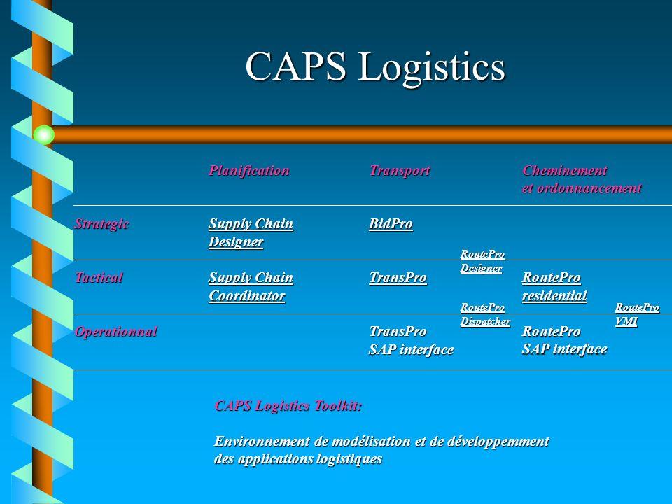 CAPS Logistics Planification Transport Cheminement et ordonnancement et ordonnancement StrategicSupply Chain BidPro Supply ChainBidProSupply ChainBidP