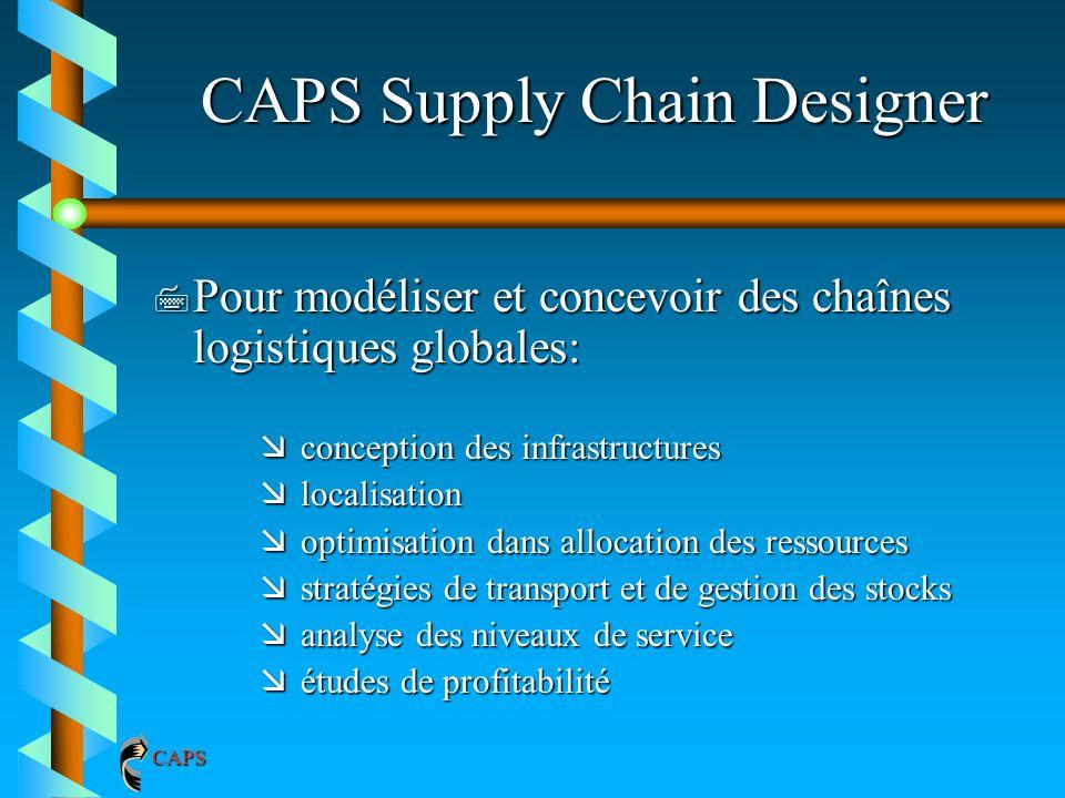 CAPS Supply Chain Designer 7 Pour modéliser et concevoir des chaînes logistiques globales: æconception des infrastructures ælocalisation æoptimisation
