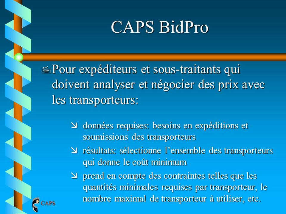 CAPS BidPro 7 Pour expéditeurs et sous-traitants qui doivent analyser et négocier des prix avec les transporteurs: ædonnées requises: besoins en expéd
