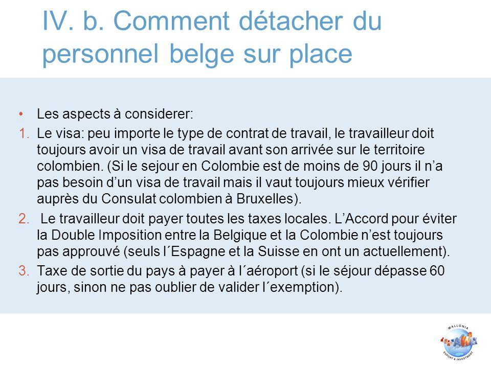 IV. b. Comment détacher du personnel belge sur place Les aspects à considerer: 1.Le visa: peu importe le type de contrat de travail, le travailleur do